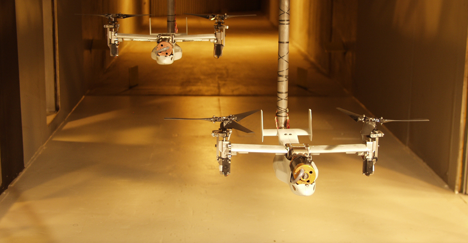 1/48th-scale V-22 Formation Flight Test in the Army 7x10 Foot Wind Tunnel, 2005